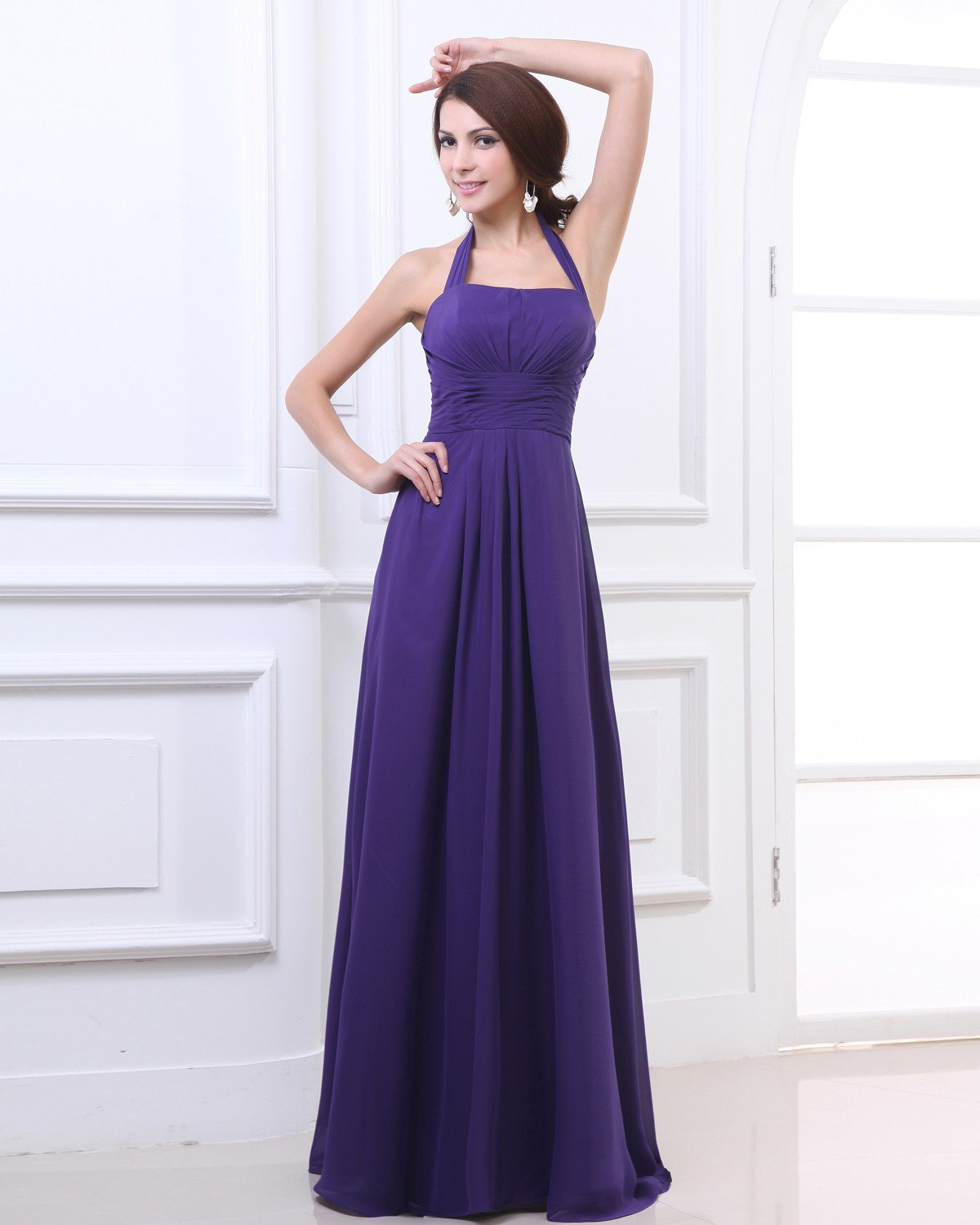 Charming Chiffon Halter Ruffle Floor Length Evening Party Dresses