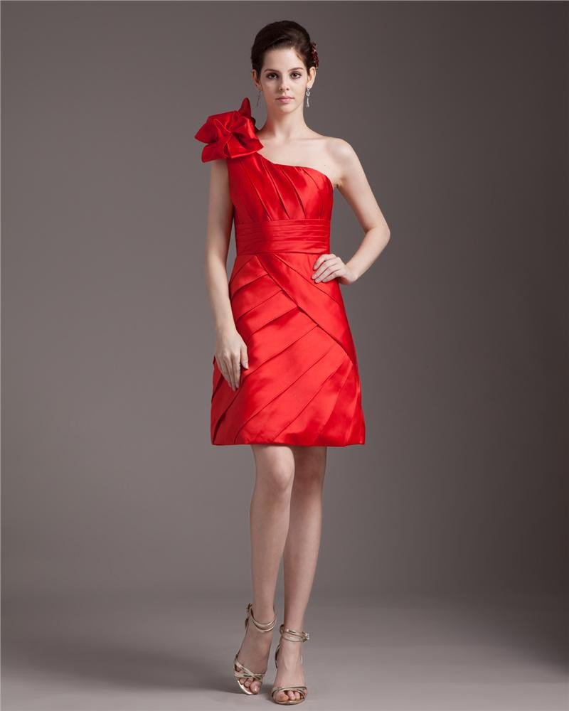 Elegant Ruffles Sloping Knee Length Satin Cocktail Party Dress