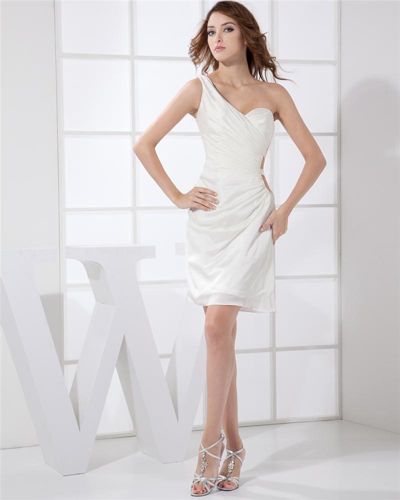Sloping Neckline Sleeveless Thigh Length Pleat Taffeta Woman Cocktail Party Dress