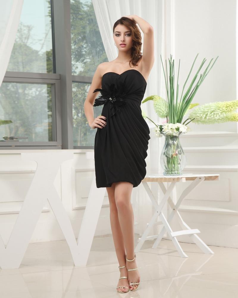 Sleeveless Thigh Length Strapless Neckline Pleated Silk Like Woman Little Black Party Dress