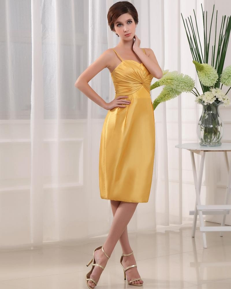 Taffeta Ruffle Spaghetti Straps Sleeveless Backless Zipper Knee Length Cocktail Party Dress