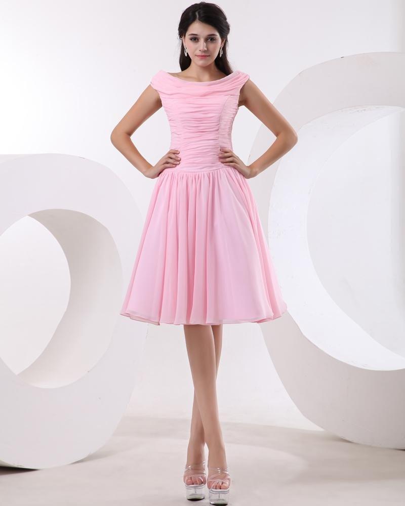 Chiffon Ruffle Sabrina Neck Knee Length Little Black Party Dress