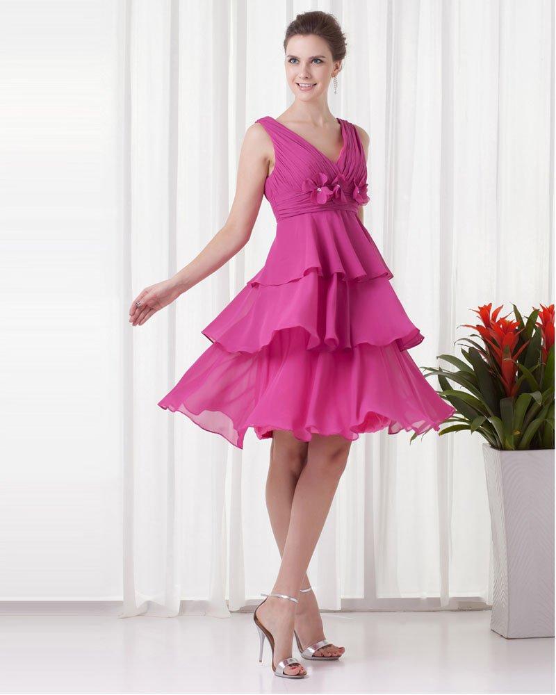 V Neck Knee Length Flower Pleated Ruffles Chiffon Women Little Black Party Dress
