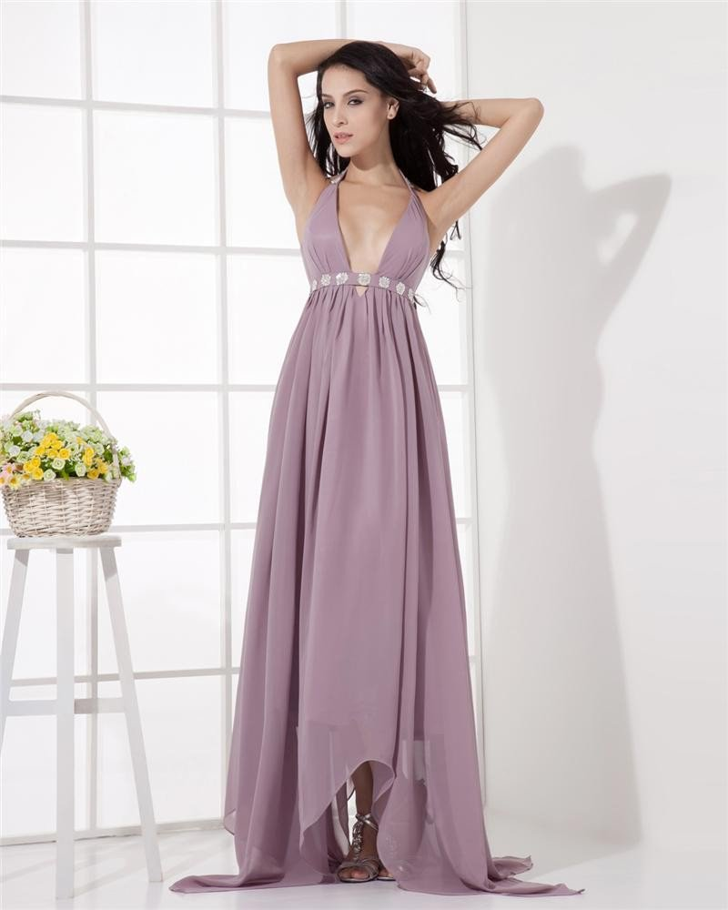 Empire Chiffon Halter Ruffle Beading Asymmetrical Evening Party Dresses