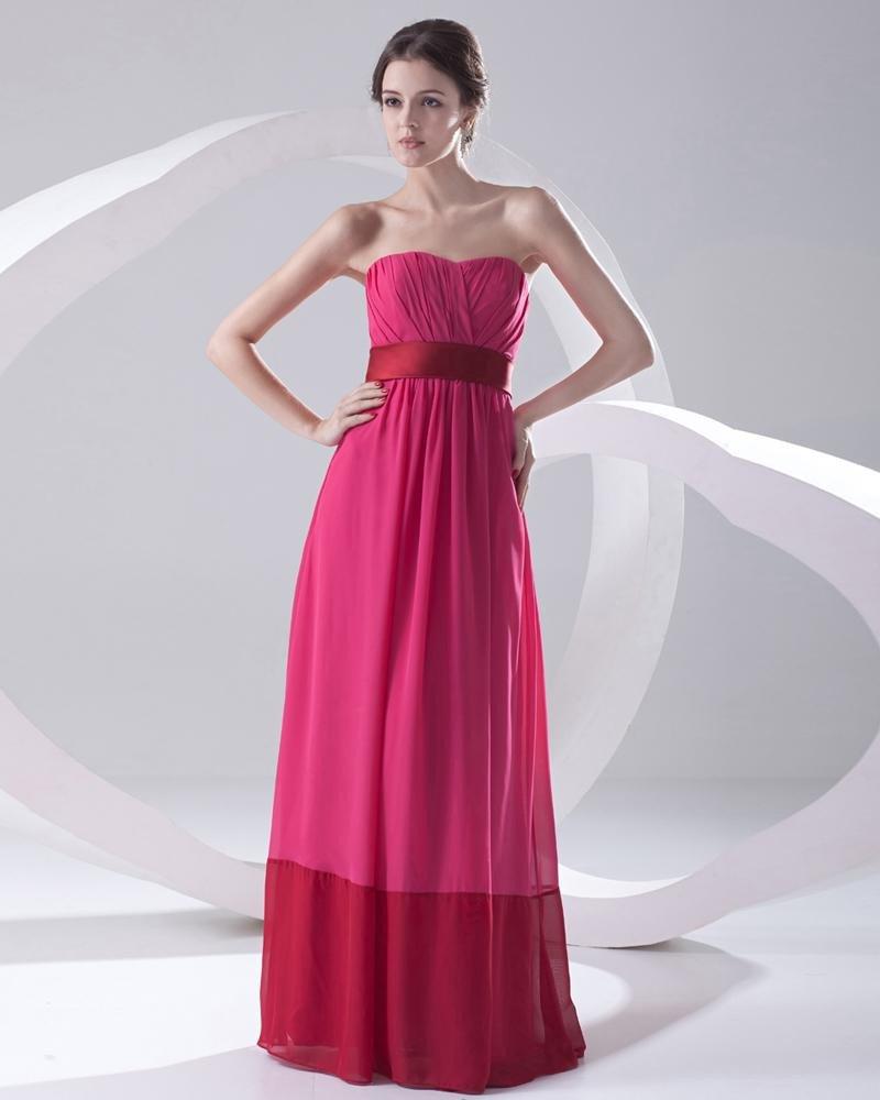Chiffon Ruffle Sweetheart Sleeveless Backless Zipper Floor Length Pleated Evening Party Dress
