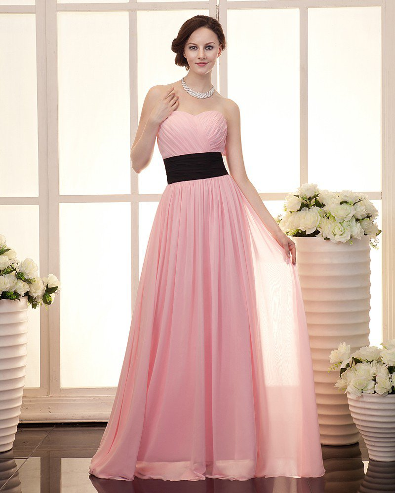 Ruffle Sweetheart Neckline Zipper Chiffon Women Evening Party Dress