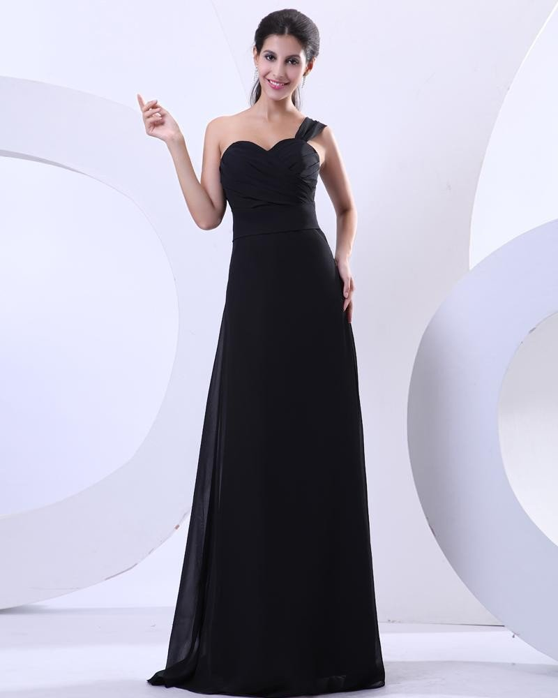 Pleated Chiffon One Shoulder Floor Length Evening Party Dresses