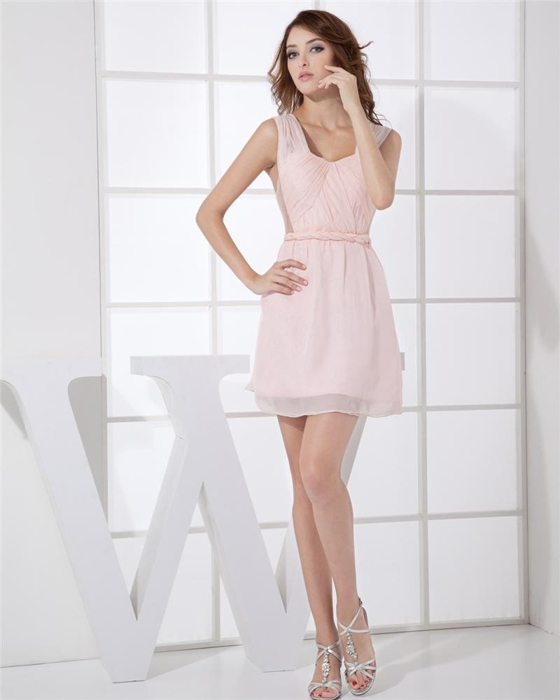 Round Neckline Thigh Length Sleeveless Pleat Chiffon Woman Cocktail Party Dress
