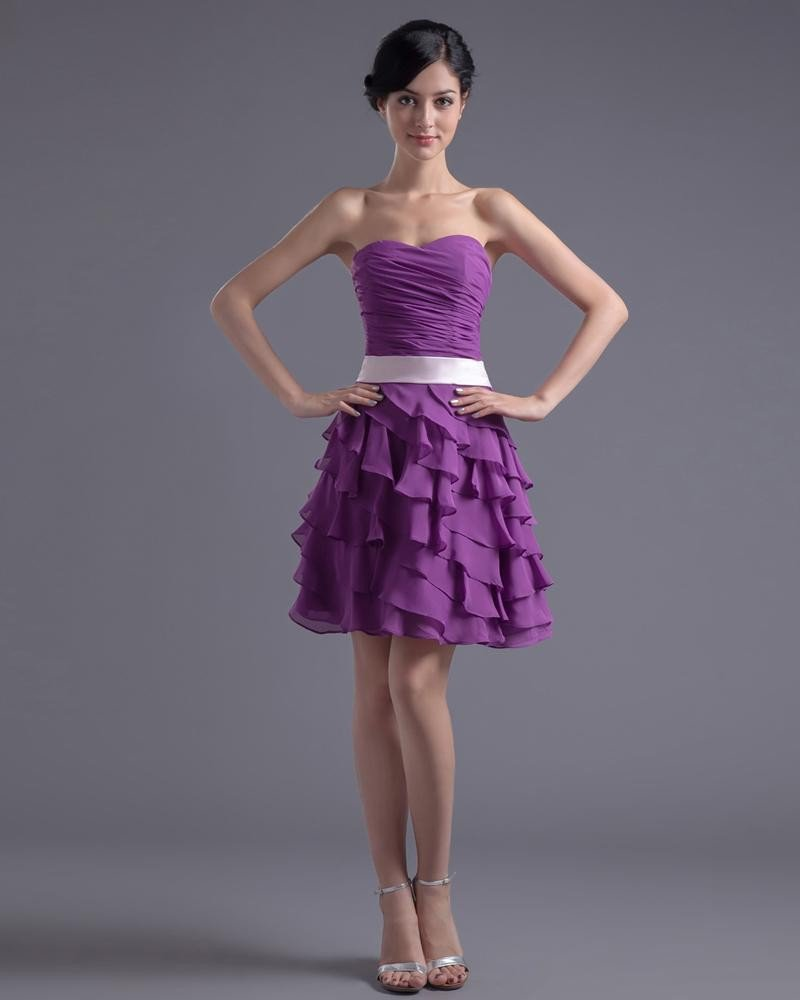 Fashion Chiffon Pleated Ruffle Sweetheart Knee Length Little Black Party Dress