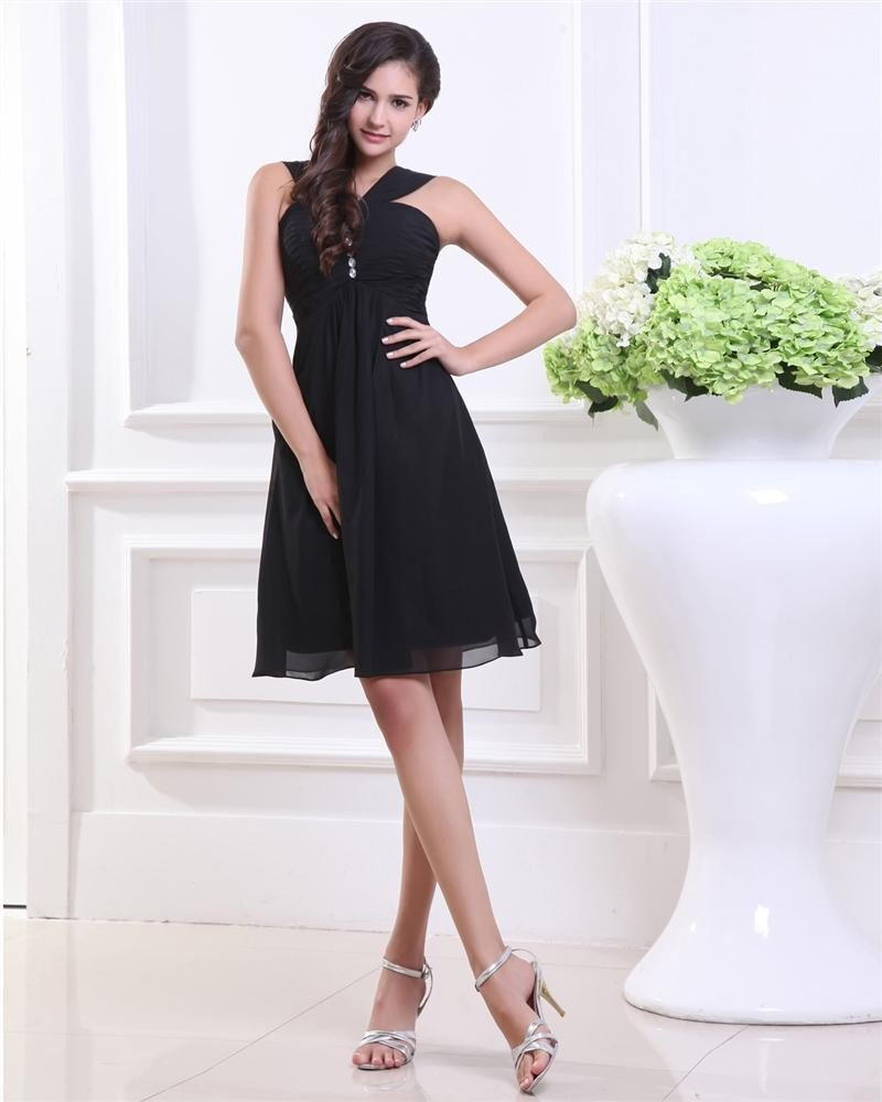 Empire V-Neck Knee Length Taffeta Organza Little Black Party Dress