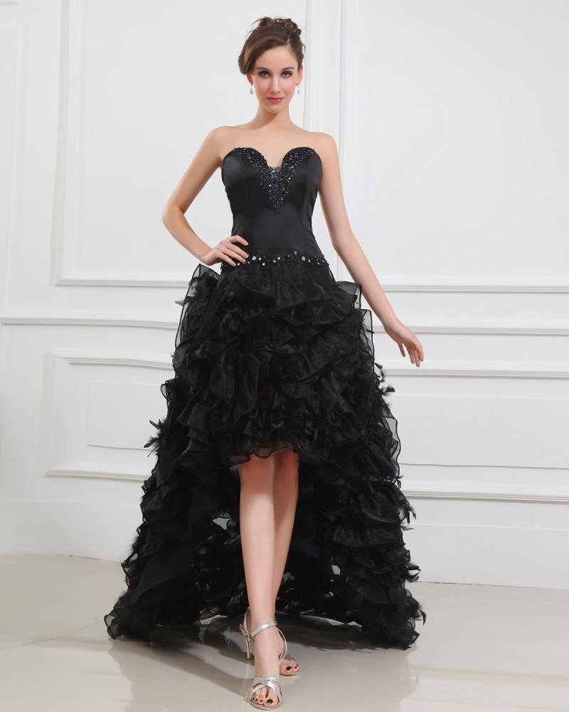 Satin Organza Beading Feather Sweetheart Asymmetrical Length Prom Dresses