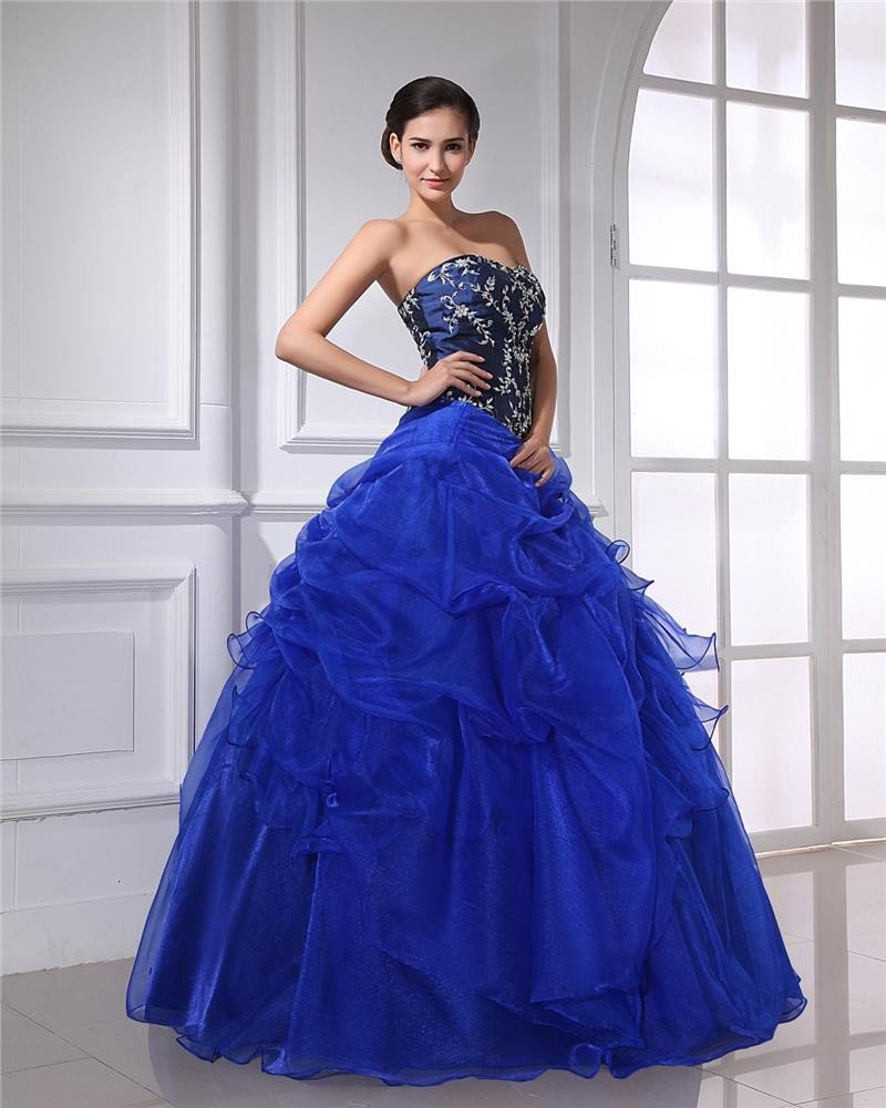 Ball Gown Organza Satin Beading Ruffle Applique Sweetheart Floor Length Quinceanera Prom Dresses