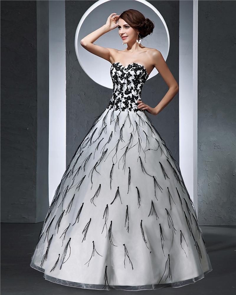 Sweetheart Applique Floor Length Satin Tulle Woman Ball Grown Prom Dress