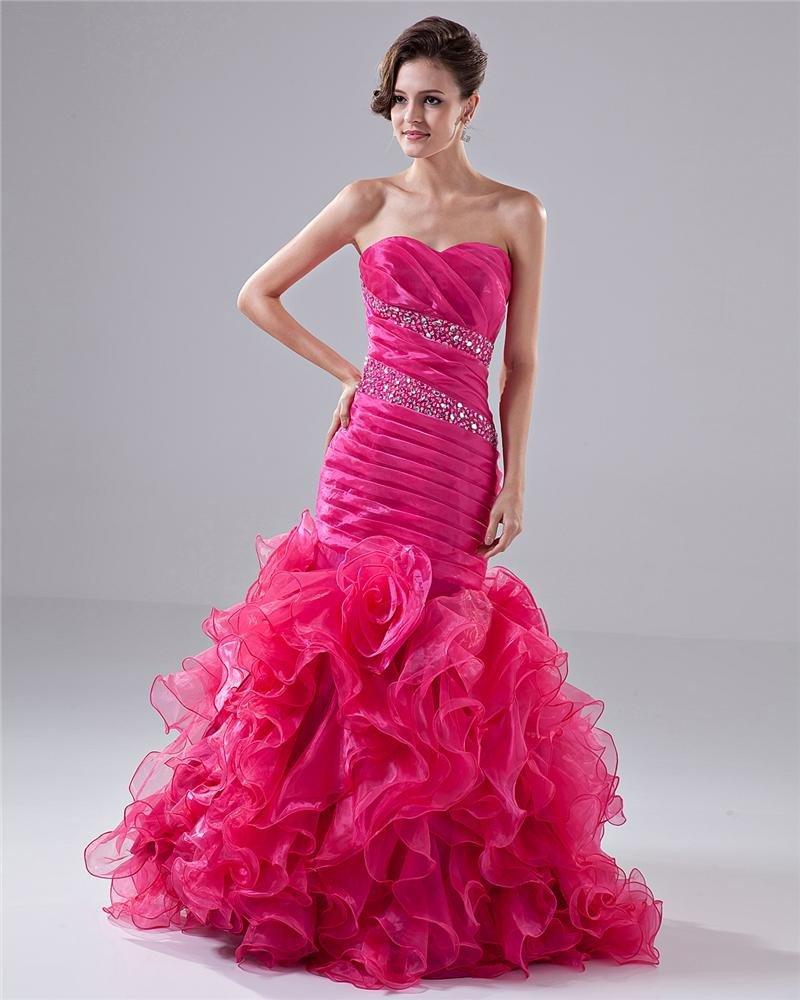 Sweetheart Ruffles Beading Flower Floor Length Prom Dress