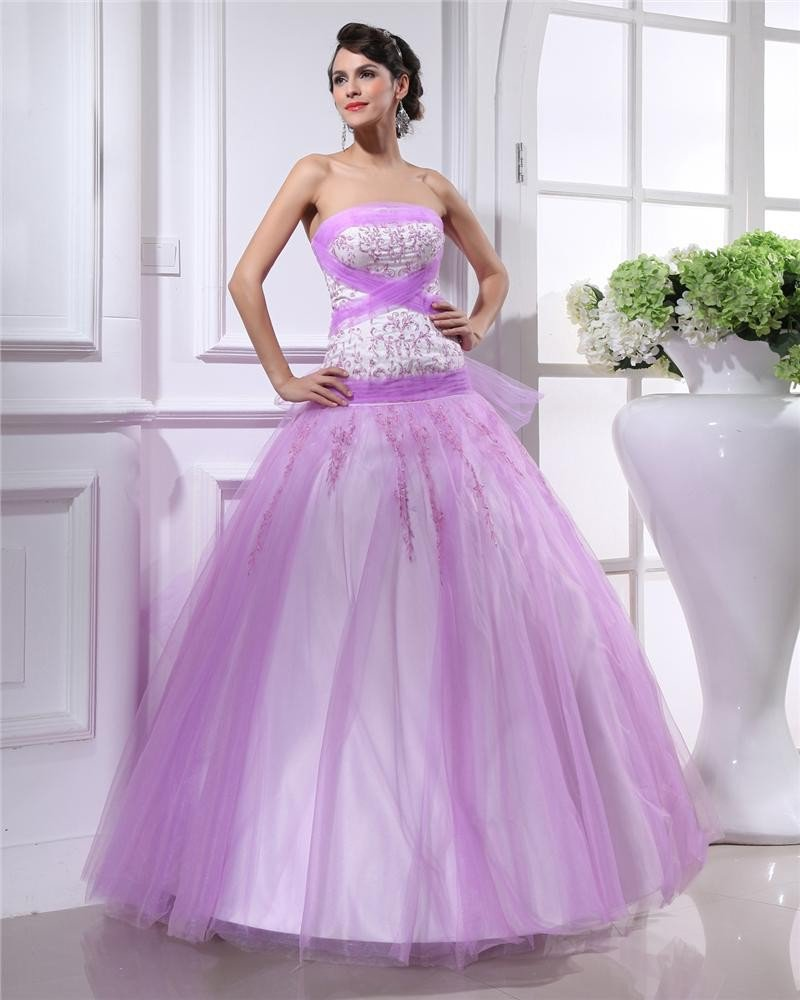 Ball Gown Strapless Floor-length Mesh Quinceanera/Prom Dresses