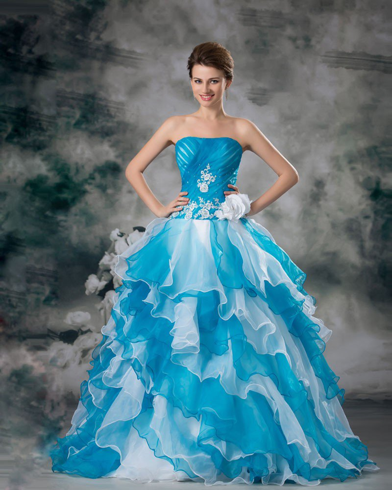 Ball Gown Organza Ruffle Beading Flower Strapless Floor Length Tiered Quinceanera Prom Dress