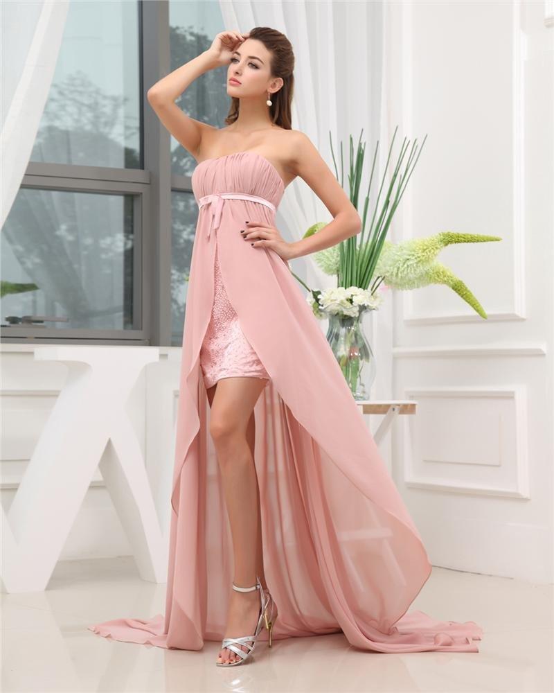 Strapless Zipper Sleeveless Beading Ruffle Asymmetrical High Low Chiffon Charmeuse Woman Prom Dress
