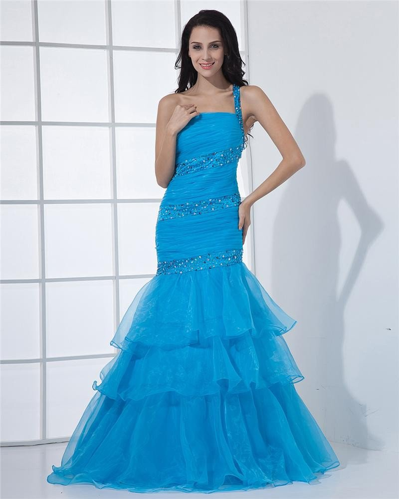 One Shoulder Tiered Floor Length Beading Pleated Organza Woman Prom Dress
