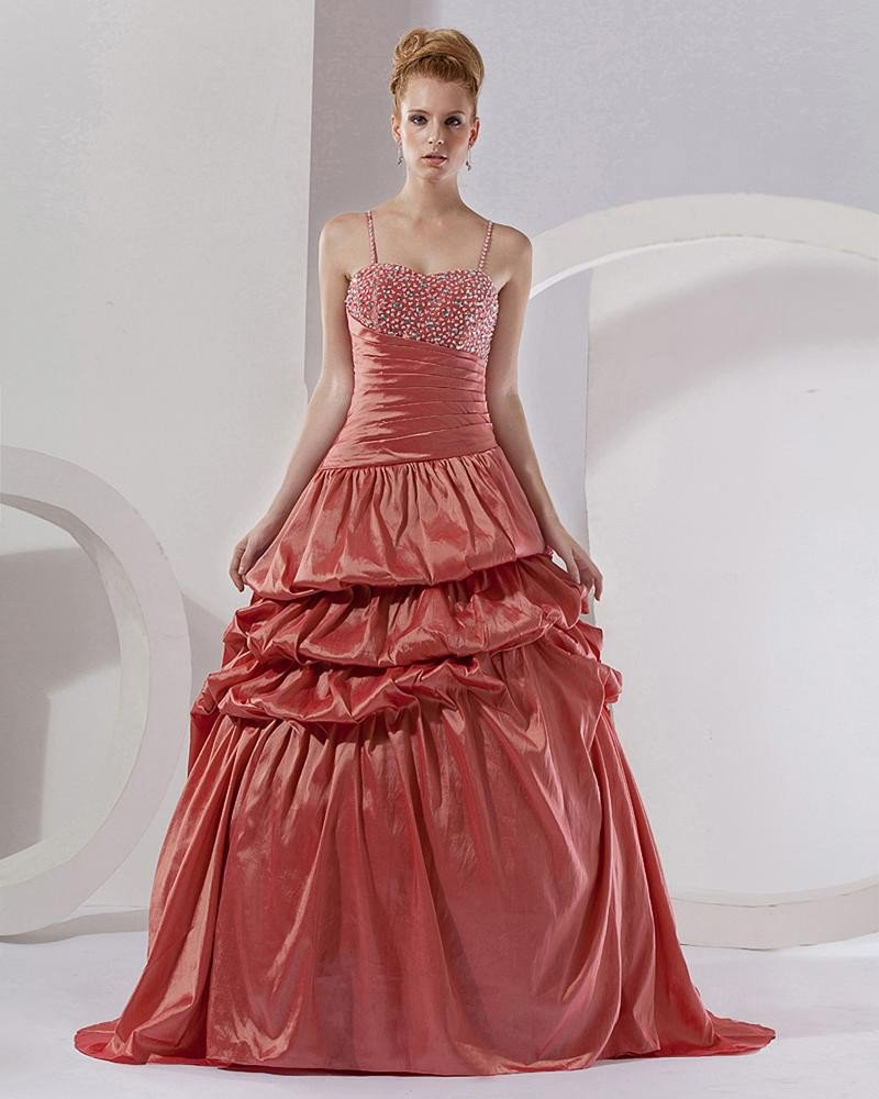 Ball Gown Taffeta Applique Beading Spaghetti Straps Floor Length Quinceanera Prom Dresses