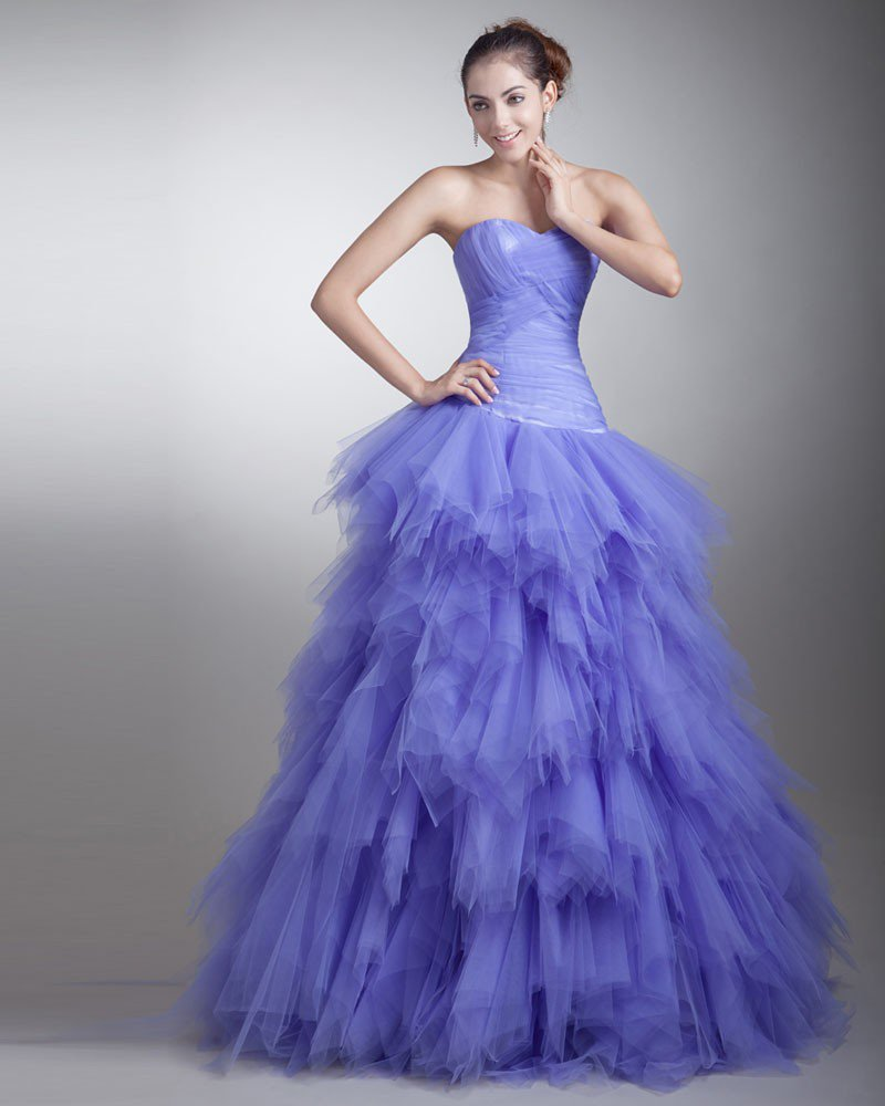 Ball Gown Satin Tulle Ruffle Sweetheart Floor Length Quinceanera Prom Dress