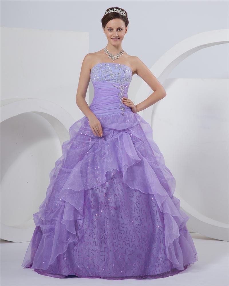 Ball Gown Strapless Floor Length Ruffle Beading Taffeta Satin Prom Dress