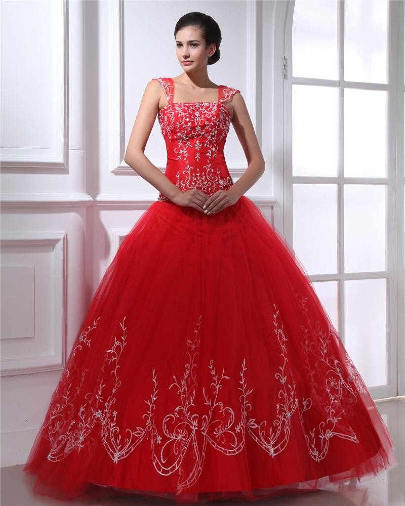 Ball Gown Satin Yarn Pleated Beading Applique Square Neck Floor Length Quinceanera Prom Dresses