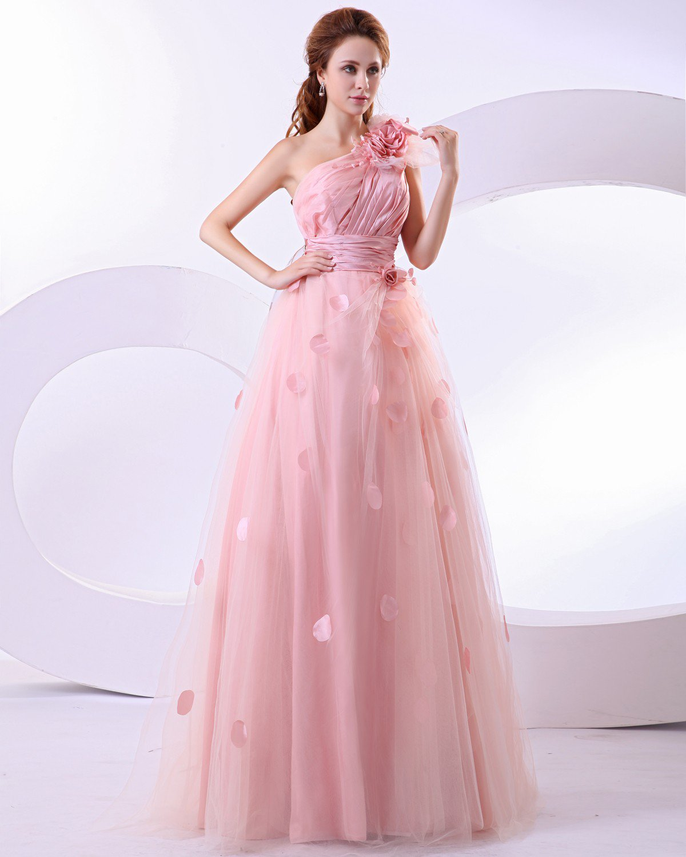 Satin Flower One Shoulder A Line Prom Dresses