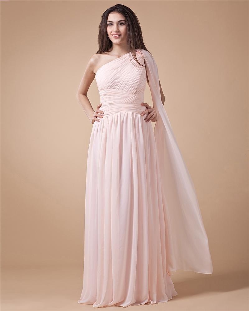 One Shoulder Ruffle Sleeveless Chiffon Floor Length Woman Prom Dress