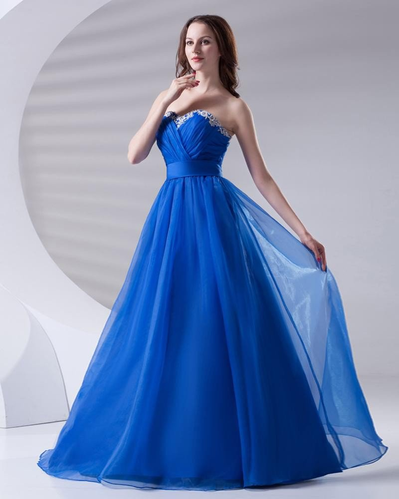 Lace Ruffle Sweetheart Floor Length Organza Prom Dress