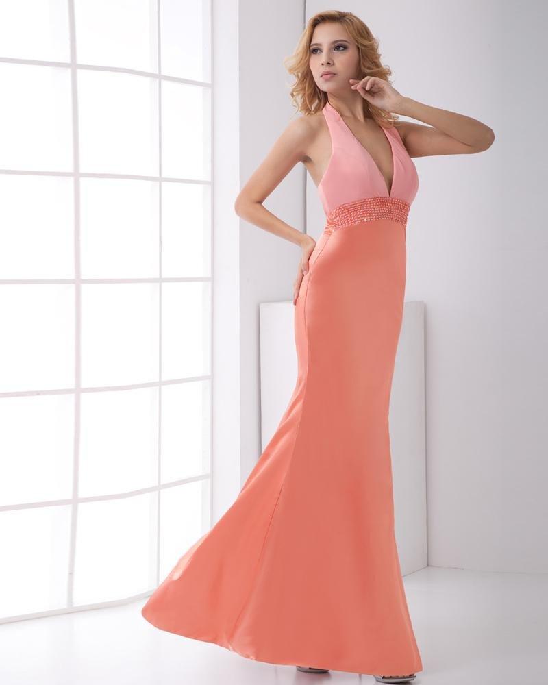 Fashion Satin Beaded Halter Sleeveless Ankle Length Prom Dress