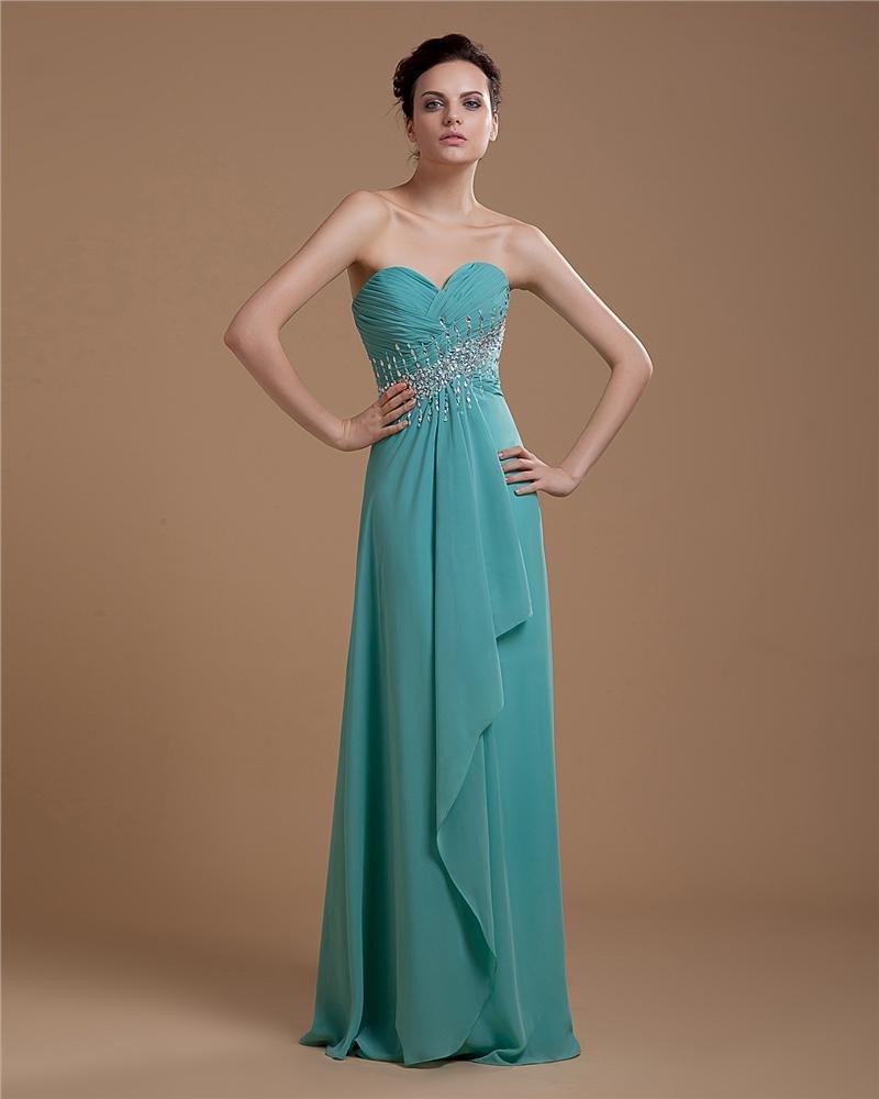 Elegant Sweetheart Ruffle Chiffon Beading Floor Length Prom Dresses