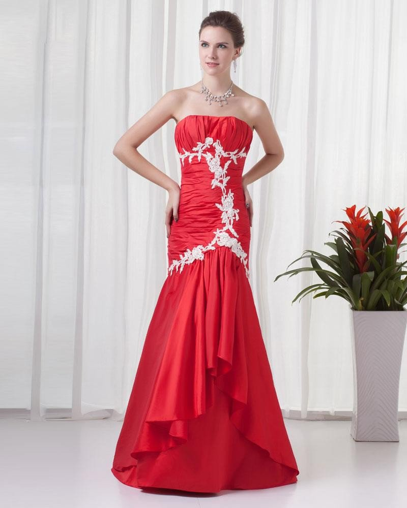 Strapless Floor Length Applique Ruffles Pleated Charmeuse Women Prom Dress