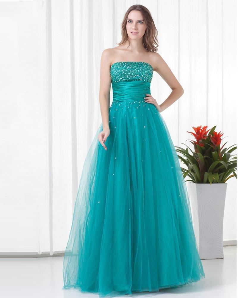 Strapless Floor Length Beading Tulle Woman Prom Dress