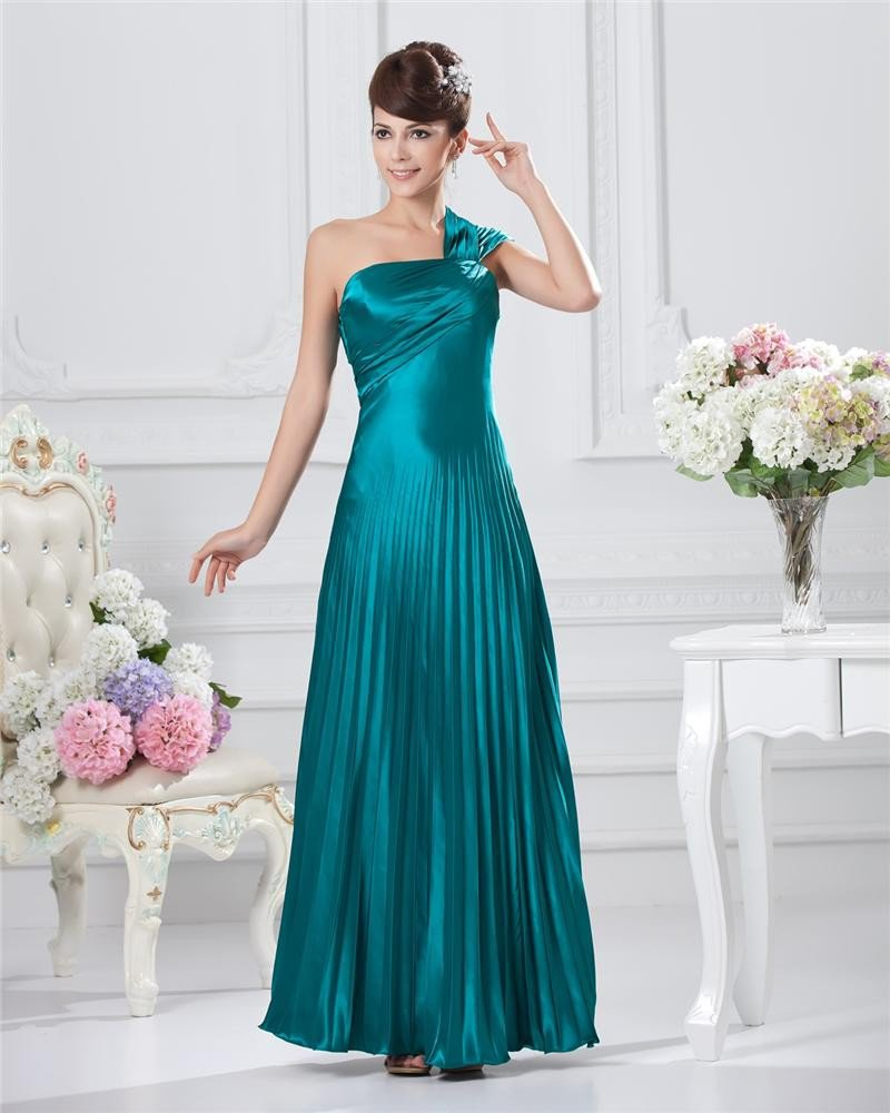 Empire One-Shoulder Sleeveless Floor Length Satin Prom Dress