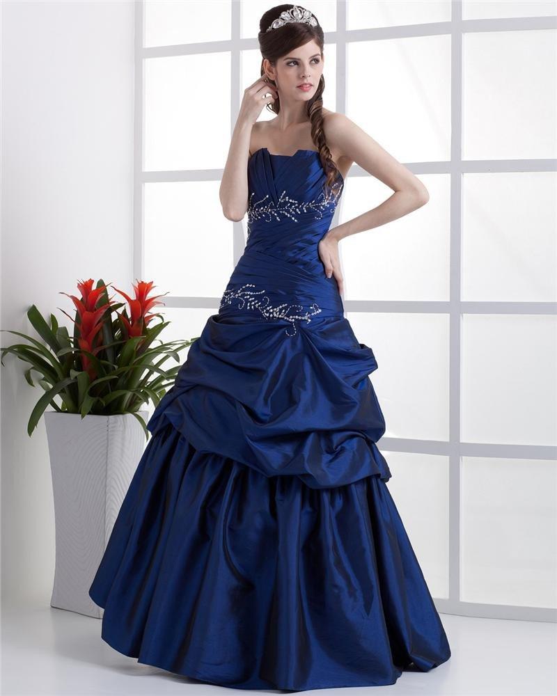 Ball Gown Taffeta Ruffle Floor Length Quinceanera Prom Dress