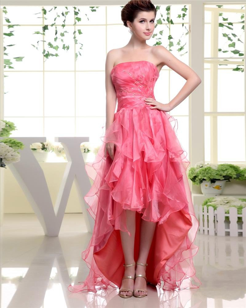 Strapless Sleeveless Zipper Pleated Beading Layered Dip Hem Ankle Length Silk Elastic Silk Like Sati