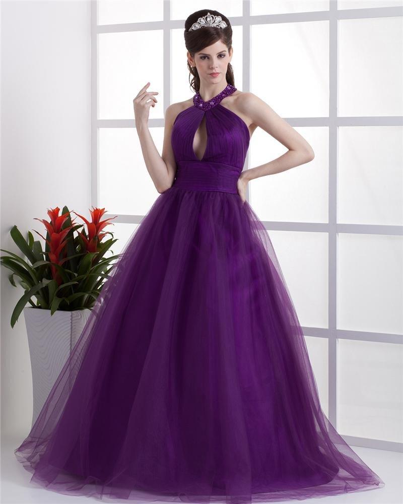Ball Gown Satin Yarn Ruffle Halter Floor Length Quinceanera Prom Dress