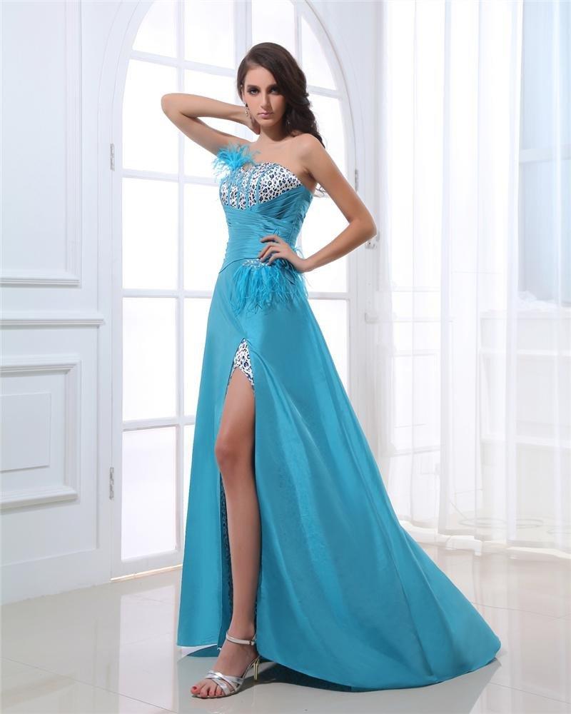 Sweetheart Lace Up Ruffle Beading Feather Sleeveless Floor Length Taffeta Woman Prom Dress