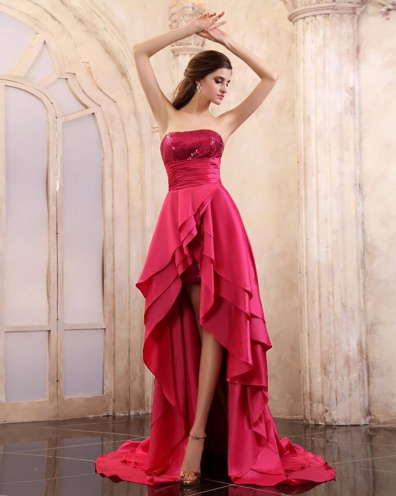 Sleeveless Taffeta Sequins Strapless Chapel Train Prom Dresses