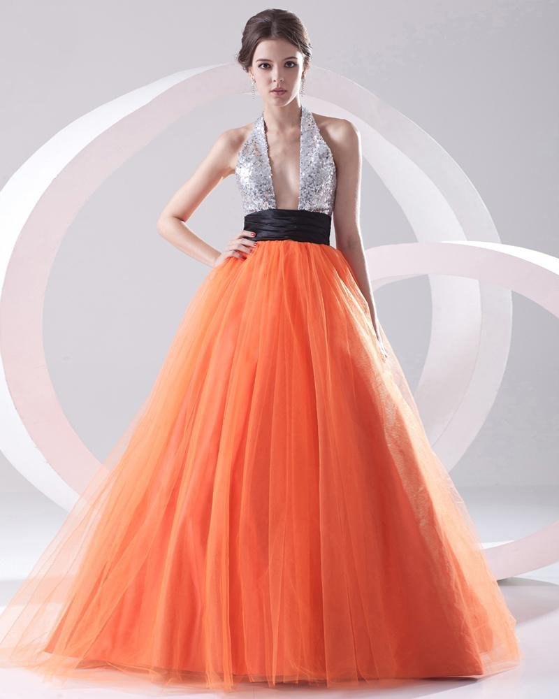 Fashion Organza Paillette Pleated Halter Sleeveless Floor Length Prom Dress