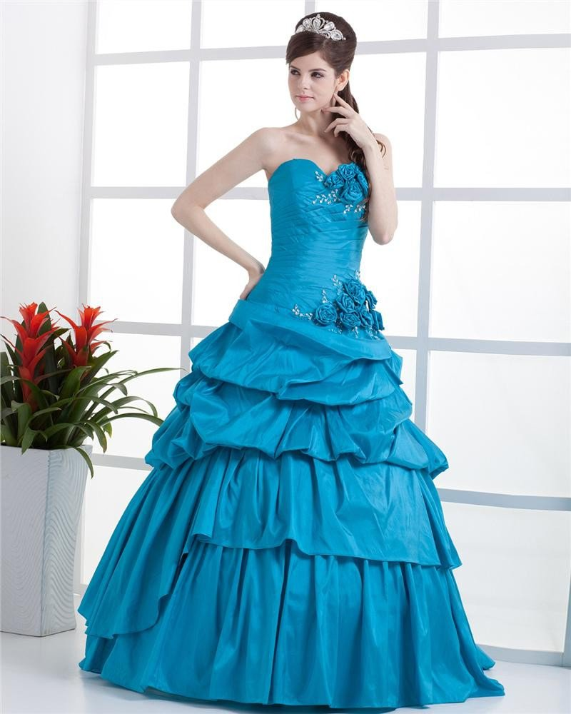 Ball Gown Sleeveless Flowers Embroidery Ruffles Applique One Shoulder Floor Length Quinceanera Prom