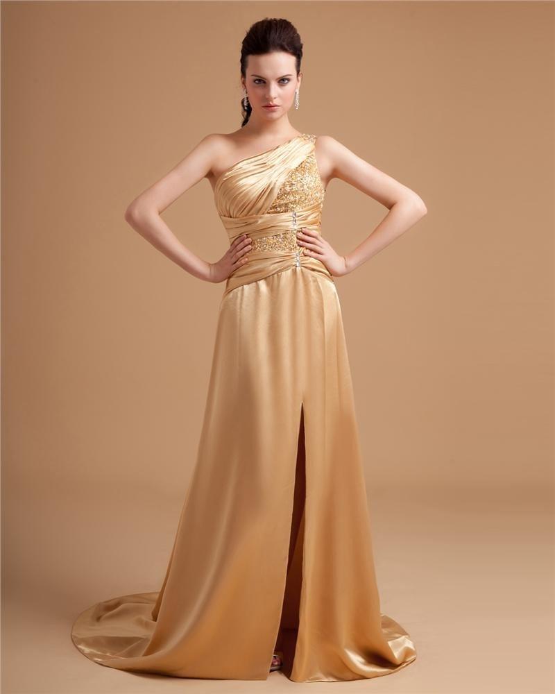 Silk Imitation Charmeuse Ruffle Beading Applique One Shoulder Floor Length Prom Dresses