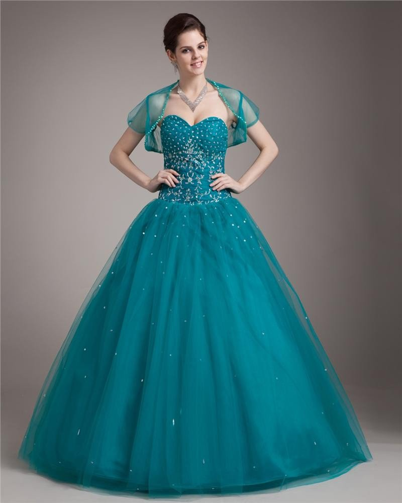 Ball Gown Floor Length Sweetheart Yarn Satin Paillette Embroidery Women Quinceanera Prom Dress