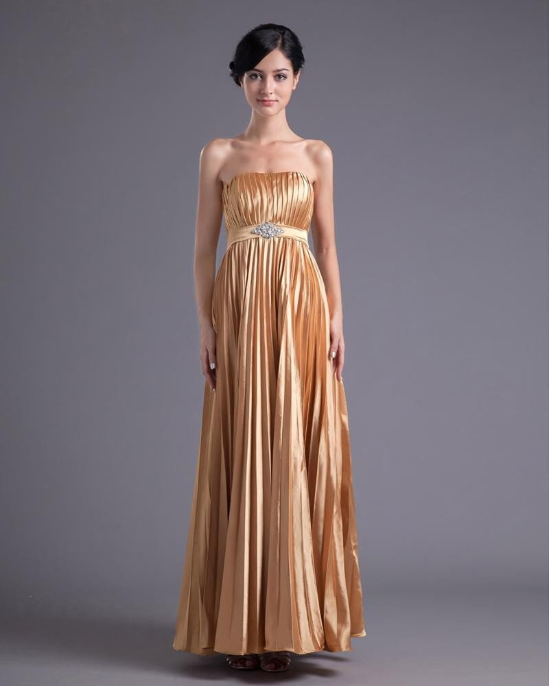 Fashion Charmeuse Pleated Strapless Ankle Length Prom Dress