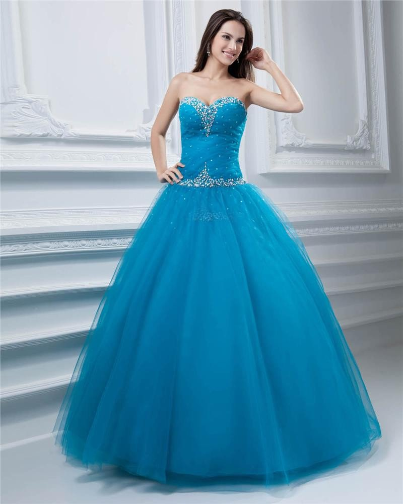 Ball Gown Tulle Sweetheart Bead Embellishment Floor Length Quinceanera Prom Dresses