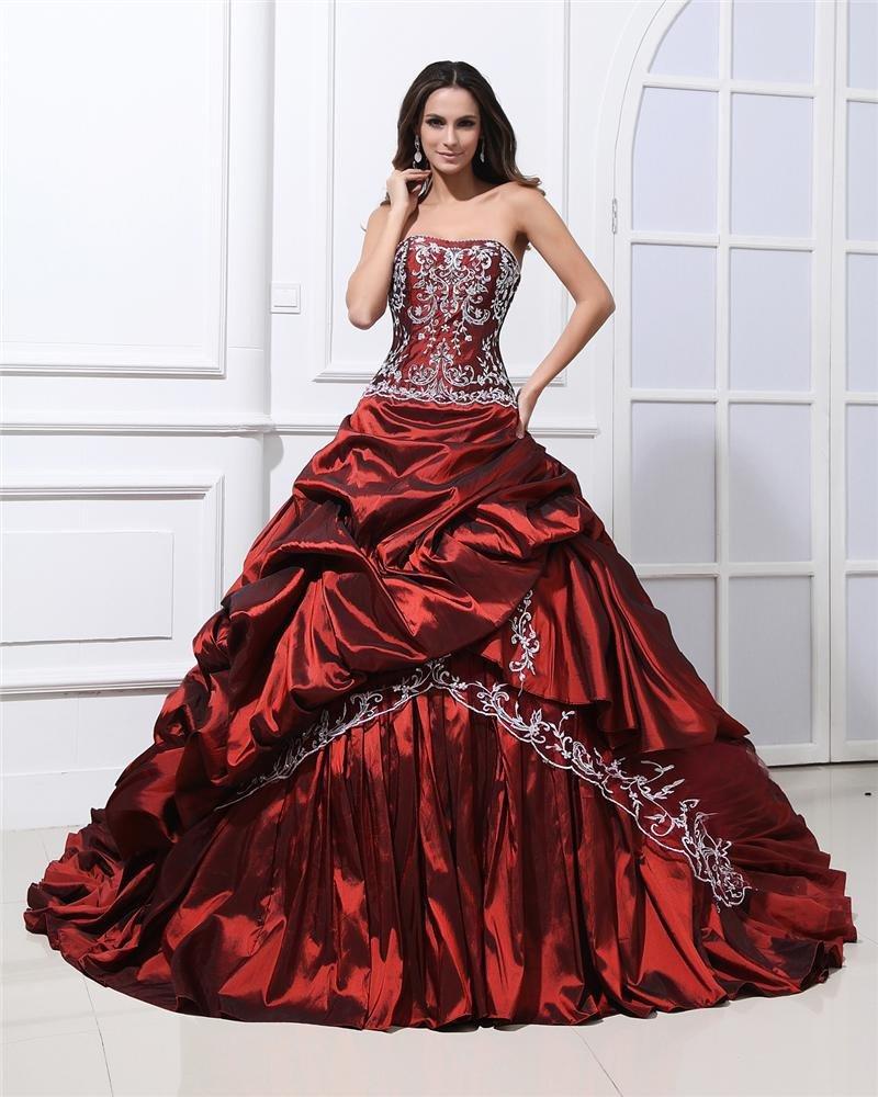 Satin Ruffles Applique Court Empire Prom Dresses