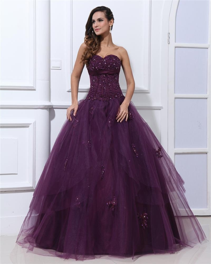 Ball Gown Sleeveless Satin Yarn Embroidery Ruffles Applique Sweetheart Floor Length Quinceanera Prom