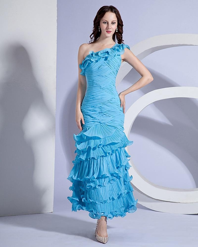 One Shoulder Ruffle Floor Length Prom Dress