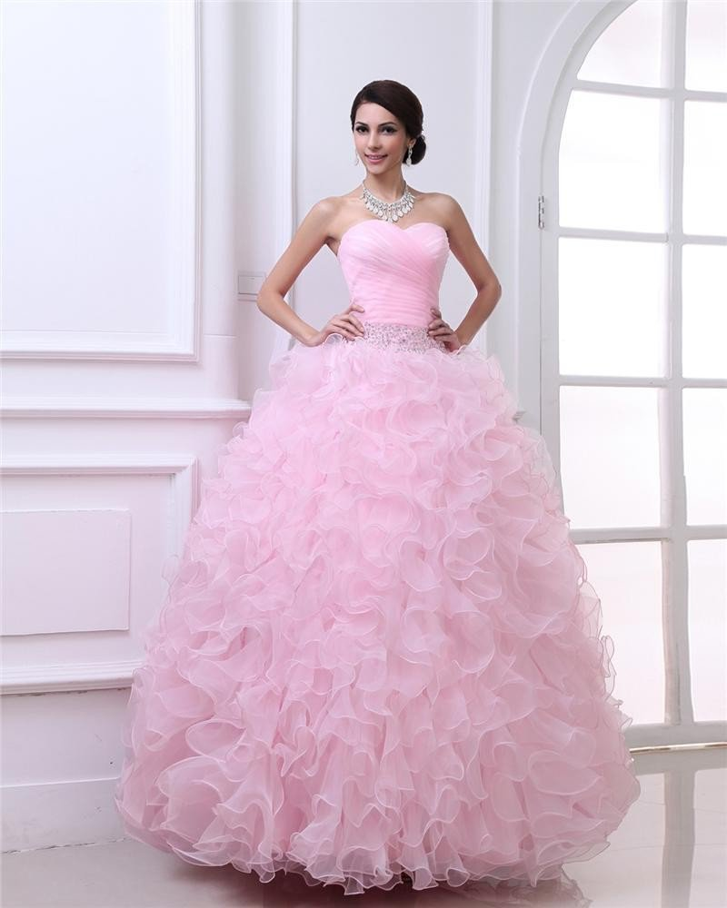 Ball Gown Sweetheart Heming Floor Length Organza Woman Quinceanera Prom Dresses