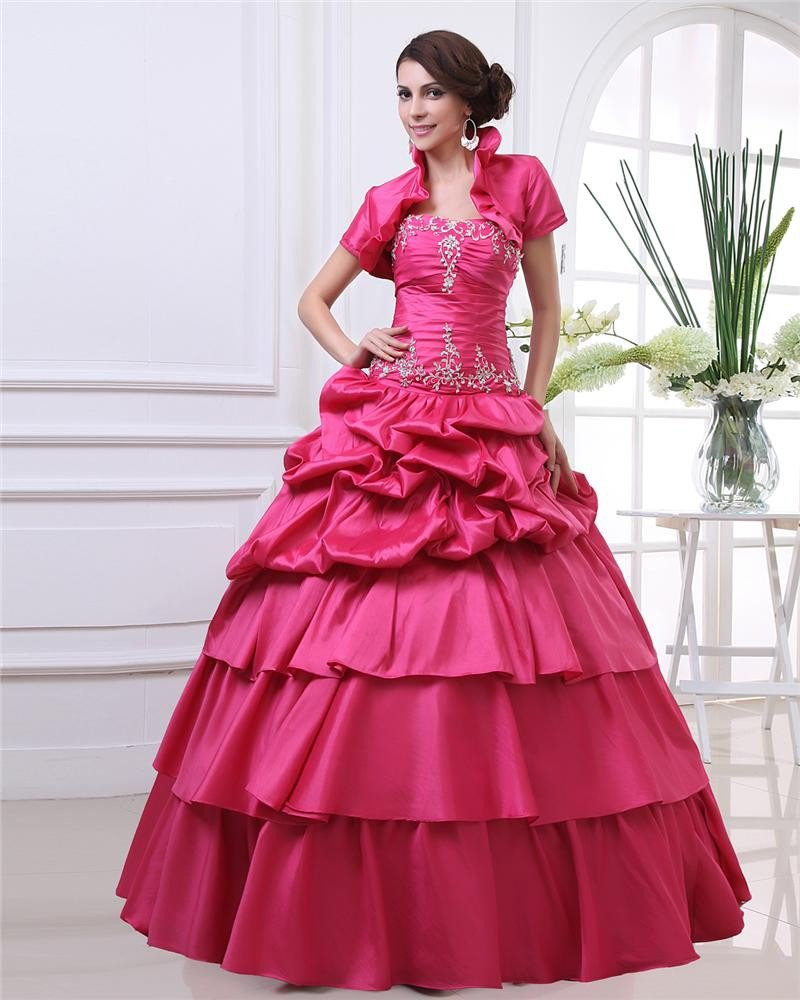 Ball Gown Sweetheart Embroidery Ruffle Floor Length Three Piece Taffeta Woman Quinceanera Prom Dress